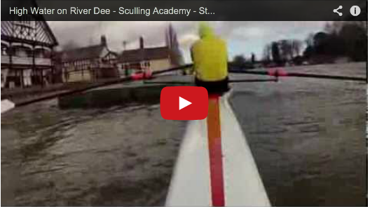 Steve Walker Sculling at high water on the River Dee and keeping his feet dry